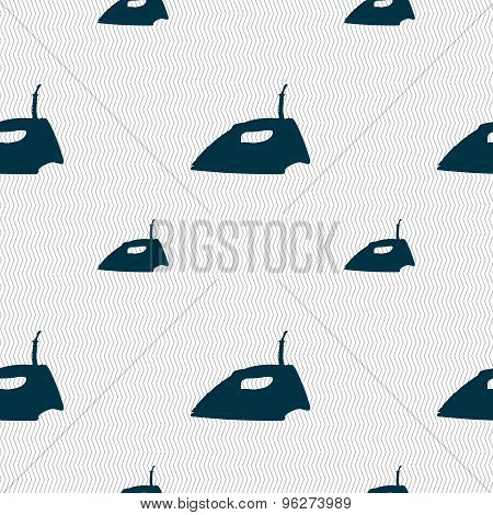 Iron Icon Sign. Seamless Pattern With Geometric Texture. Vector