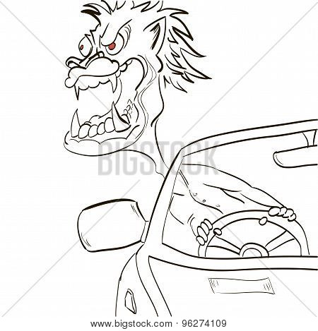 Angry Driver Leaned Out The Window And Growls