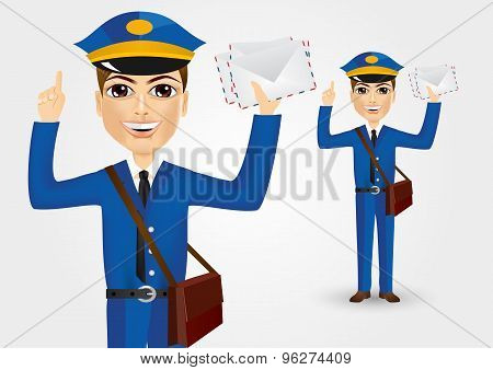 young postman with envelopes