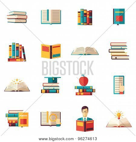 Books Flat Icon Set