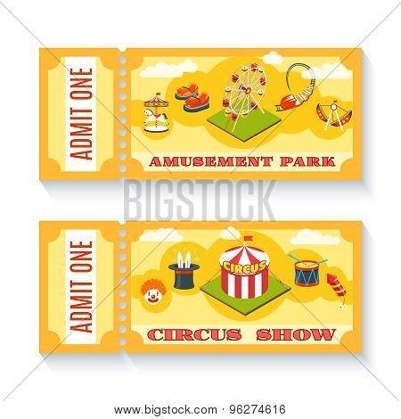 Two vintage amusement park tickets set