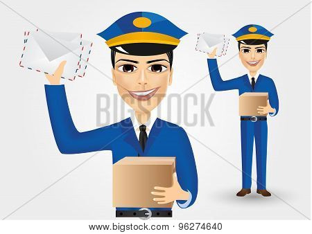 postman holding envelopes and cardboard box