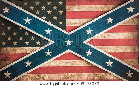 Stars and Bars in front of stars and stripes grunge fade background