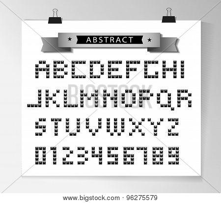 Vector silver pixel font