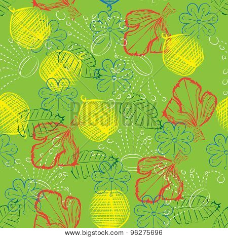 Leafy Silhouettes Seamless Pattern