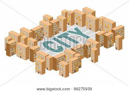 City Building. Yard Among The Houses. Isometric Building. Vector Illustration. Slum District.