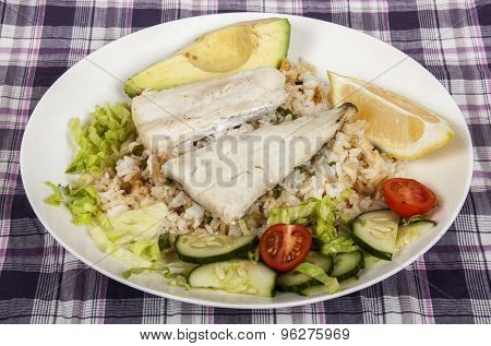 Baked Fish On Fried Rice With Avocado And Salad