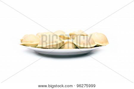 Dumplings On A Plate Isolated