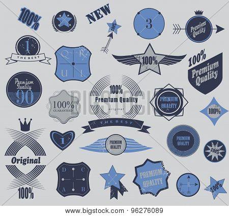 Set of retro vintage labels. Vector illustration.