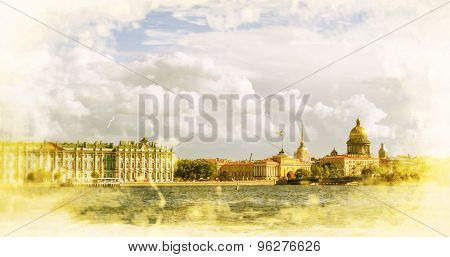 Russia. St. Petersburg. View on the Saint Isaac's Cathedral, the Admiralty and Winter Palace. Filtered image: vintage effect.