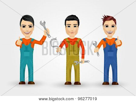three young plumbers dressed in work clothes
