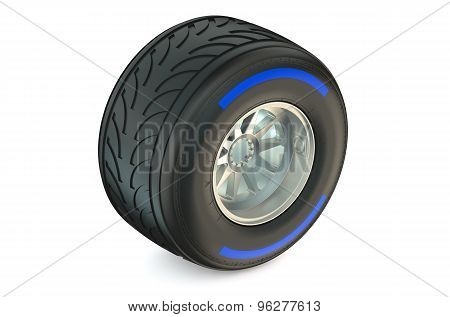 Racing Wheel With Wet Tyre