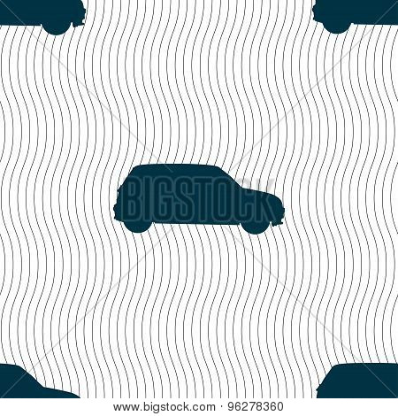 Jeep Icon Sign. Seamless Pattern With Geometric Texture. Vector