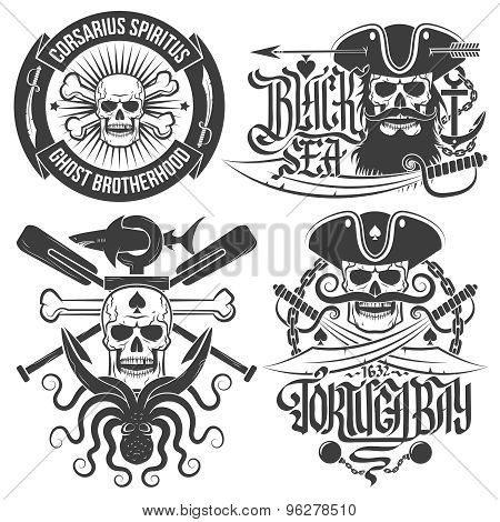 pirate emblems with skull