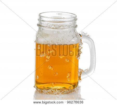 Jar Glass Filled With Ice Cold Amber Beer On White Background