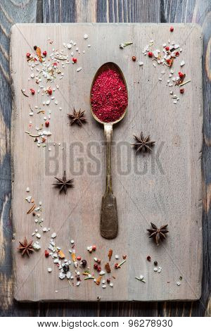 Spice sumac in old metal spoon over wooden background