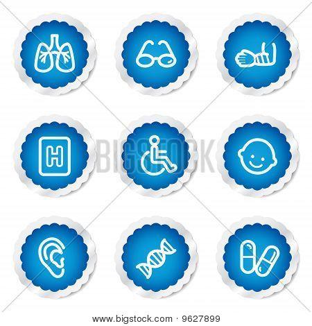 Medicine Web Icons Set 2, Blue Stickers Series