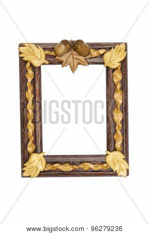 Painted wooden picture frame with the motif of oak leaves and acorns.
