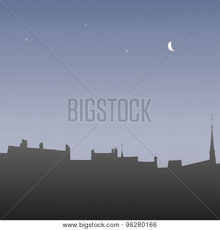 Silhouettes roofs at dawn, vector illustration