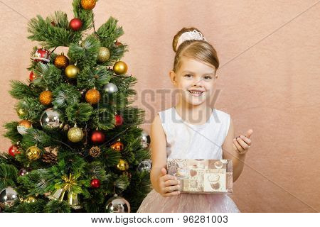 Five-year Girl Opened A Christmas Gift