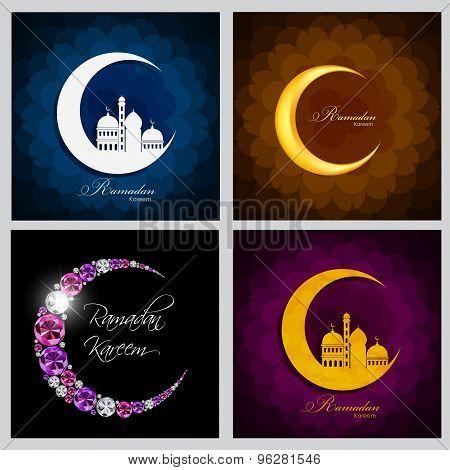 Ramadan Kareem Background Collection Set Design. Vector Illustra