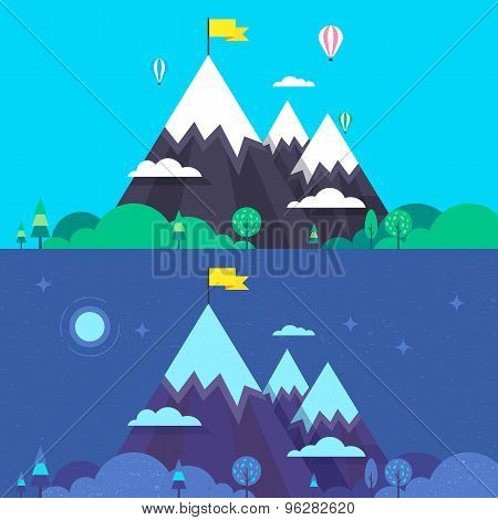 Mountain Hills Illustration In Two Views