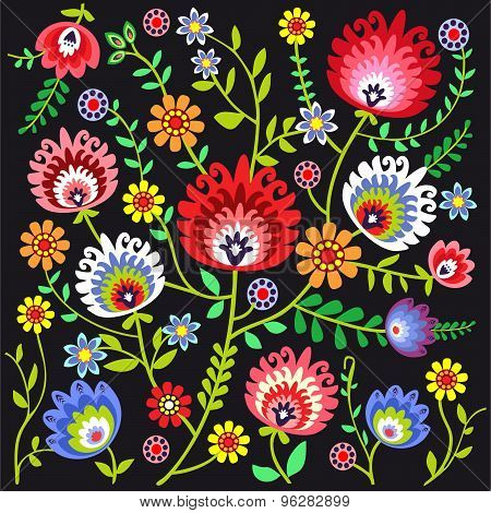 Folk pattern flowers