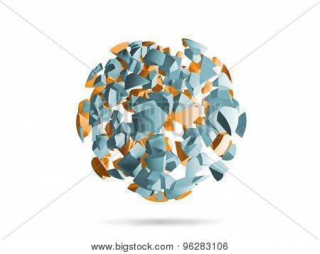 Explosion Sphere Light Blue And Yellow 3D Fragments