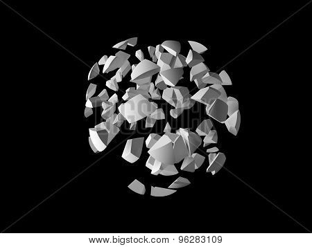 Abstract Explosion 3D Object, Spherical Fragments