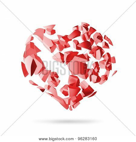 Broken Heart, Red Explosion Fragments Isolated