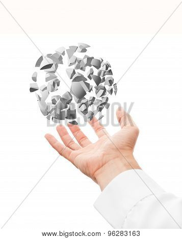Hand And 3D Explosion Sphere Fragments Isolated