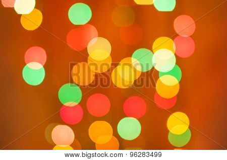 Bokeh light of the LED lamp on orange background, Color effect