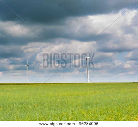 Beautiful Rural Landscape With Windmills