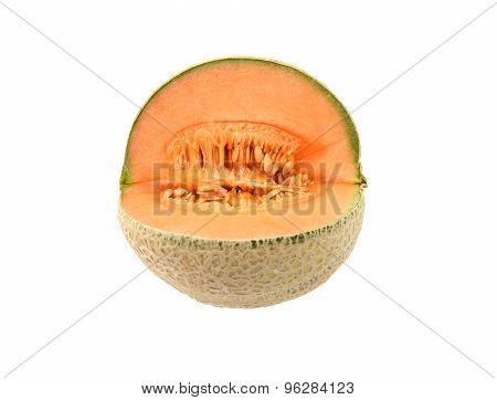Fresh Cantaloupe Melon Cut Open