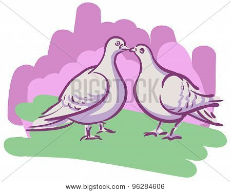 Vector Drawing Couples Kissing Doves
