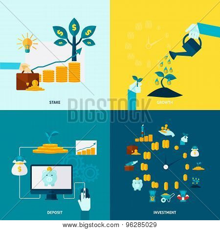 Investment Flat Decorative Icon Set