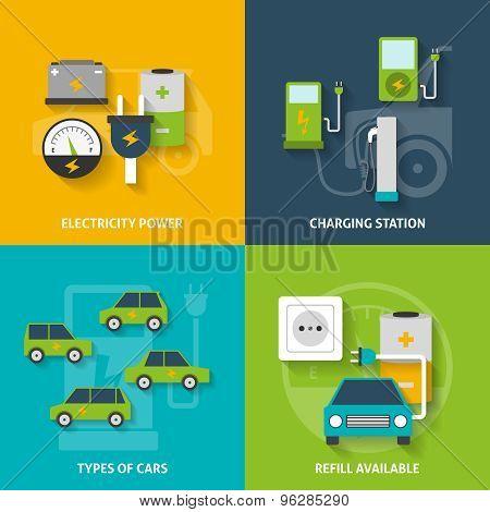 Electric Car Decorative Icon Set