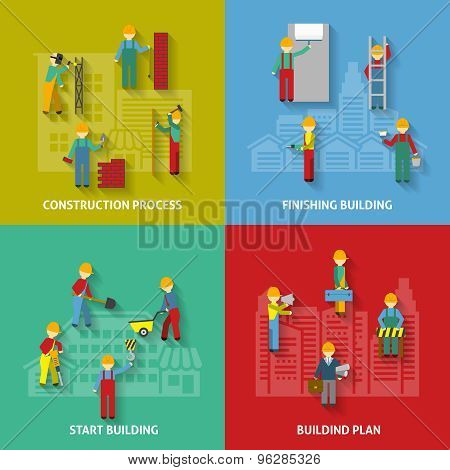 Building Flat Decorative Icon Set
