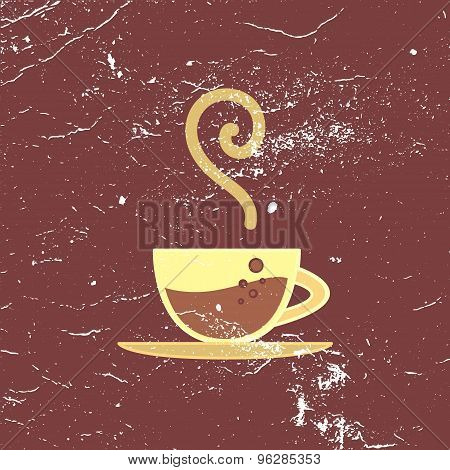 Vector Poster, Banner With Hot Coffee