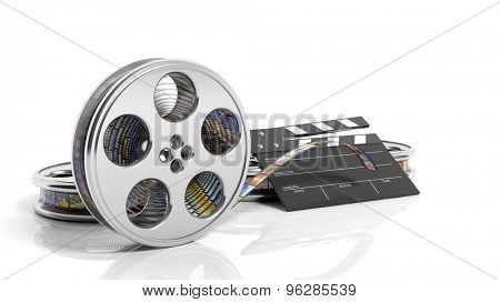Clapperboard and film reel with pictures isolated on white background