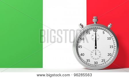 Flag of Italy with chronometer