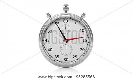 Silver clock chronometer, isolated on white background
