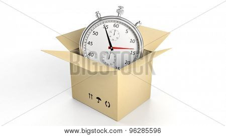 Silver chronometer in a cardboard box, isolated on white