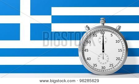Flag of Greece with chronometer