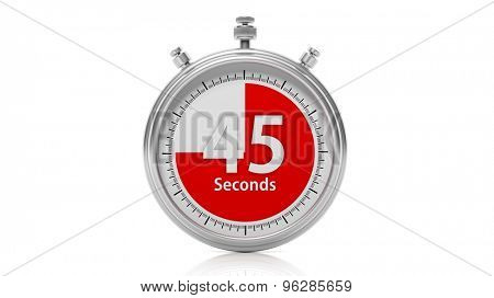 Silver chronometer set on 45 seconds, isolated on white