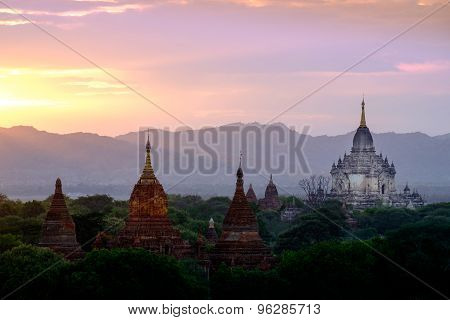 Colorful Sunset Landscape View With Silhouettes Of Temples, Bagan, Myanmar