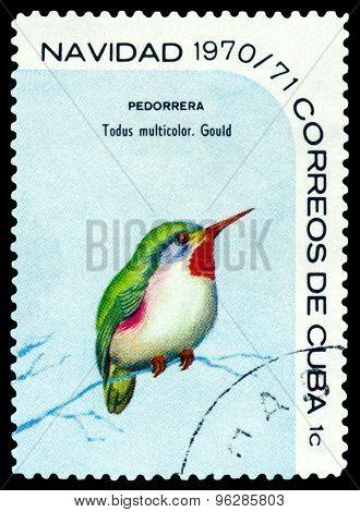 Vintage  Postage Stamp.  Bird  Cuban Tody.