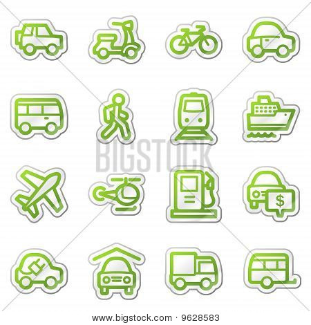 Transport Web Icons, Green Sticker Series