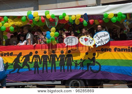 Munich, Germany - 11 July 2015: Christopher Street Day - A Bus In The Parade