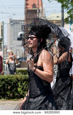 Munich, Germany - 11 July 2015: Christopher Street Day - A Man In Black Bridal Dress